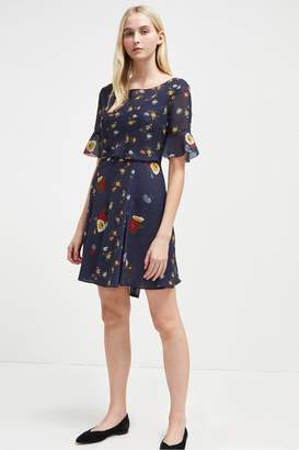 French Connection Baudet Print Twist Waist Dress