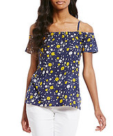 MICHAEL Michael Kors Verbena Floral Print Off-The-Shoulder Peasant Top