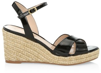 Stuart Weitzman Rosemarie Patent Leather Platform Espadrille Wedge Sandals