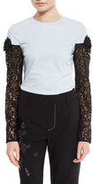 Creatures of the Wind Lace-Sleeve Crewneck Blouse, Robins Egg/Black