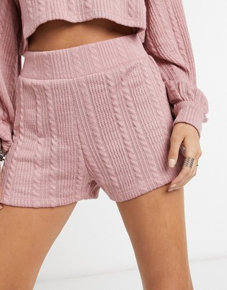 Bershka cable style stretch shorts co-ord in rose