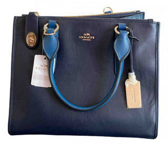 Coach Crossgrain Kitt Carry All Navy Leather Handbags