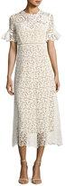 Rebecca Taylor Short-Sleeve Lace Midi Dress, White