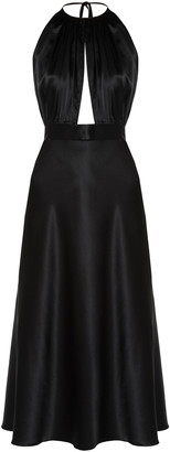 MATERIEL Silk-Satin Keyhole Dress