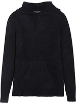 The Elder Statesman Hooded Cashmere Sweater - Midnight blue