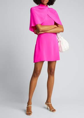 Brandon Maxwell Silk Midi Mock-Neck Dress