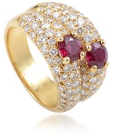 Van Cleef & Arpels 18K Yellow Gold Diamond Pave & Ruby Double Band Ring