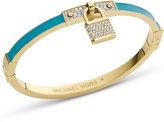 Michael Kors Gold-Tone Turquoise Pave Padlock Bangle Bracelet