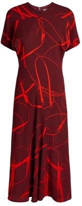 Victoria Beckham Bridle Print Midi Dress