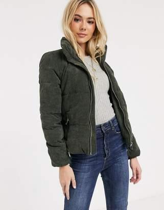 JDY Lexa padded corduroy jacket-Green