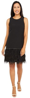 Tahari ASL Sleeveless Stretch Crepe Cocktail Dress with Feather Hemline (Black) Women's Clothing