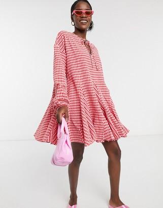 Glamorous long sleeve dress with skater skirt in gingham check
