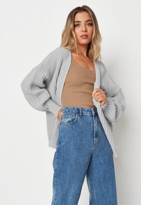 Missguided Grey Batwing Sleeve Oversized Knit Cardigan