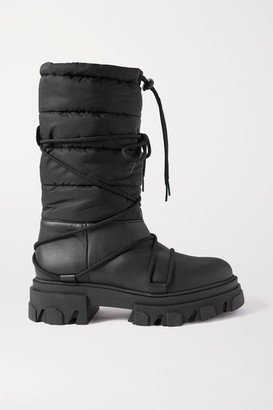 Ganni Quilted Shell And Leather Platform Boots - Black