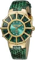 Roberto Cavalli Women's RV2L009L0046 WEBBING Diamond Yellow Gold IP Leather Watch