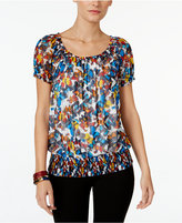 INC International Concepts Petite Printed Off-The-Shoulder Peasant Top, Only at Macy's