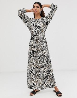 Asos Design DESIGN long sleeve tie waist jumpsuit in leopard animal print-Multi