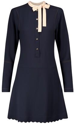 Chloé Tie-neck cady minidress