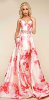 Mac Duggal Strapless Floral Print Rhinestone Embellished Evening Dress