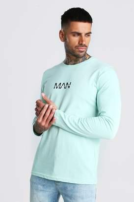 BoohoomanBoohooMAN Mens Green Original MAN Long Sleeve T-Shirt, Green