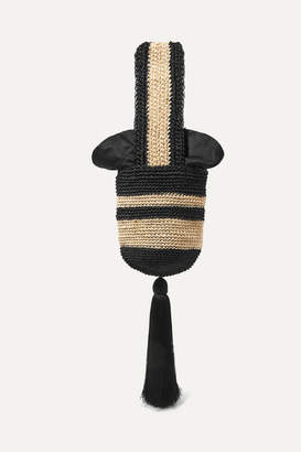 Johanna Ortiz Tasseled Striped Woven Straw Tote - Black