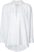 Nili Lotan Long Sleeve Lace-Up Top