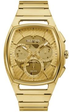 Bulova Men's Chronograph Curv Gold-Tone Stainless Steel Bracelet Watch 41.7mm