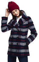 Lands' End Women's Plaid Wool Peacoat-Rich Red