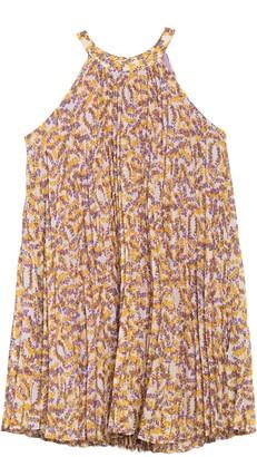 MelloDay Halter Pleated Floral Print Dress
