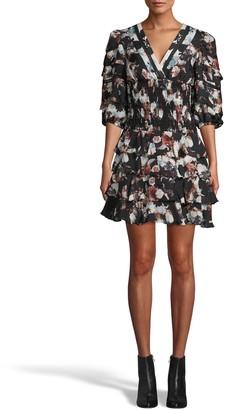 Nicole Miller Baroque Smocked Silk Ruffle Mini Dress