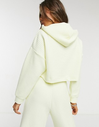 Monki Wami 3 piece co-ord waffle texture zip hoodie in yellow