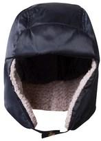 Armani Junior Navy Satin Branded Trapper Hat