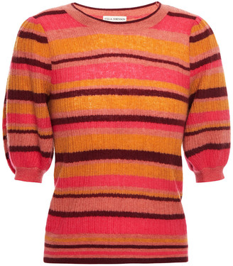 Ulla Johnson Striped Ribbed Cashmere-blend Top