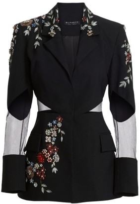 BURNETT NEW YORK Embellished Sheer-Panel Crepe Blazer