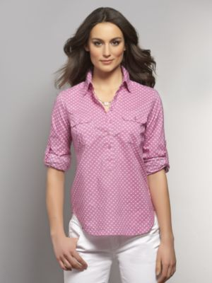 New York & Co. Spring Street Polka-Dot Poplin Shirt