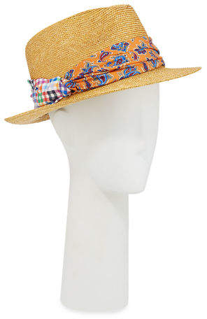 a76681554 Men's Straw Fedora Hat with Silk Band