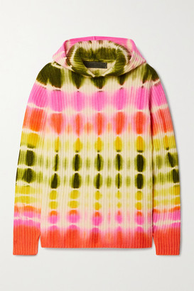 The Elder Statesman Slice Tie-dyed Ribbed Cashmere Hoodie - Pink