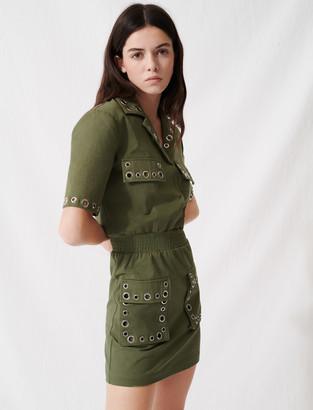 Maje Khaki safari-style dress with eyelets