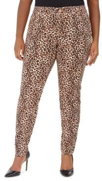 INC International Concepts Inc Plus Size Leopard-Print Skinny Jeans, Created for Macy's