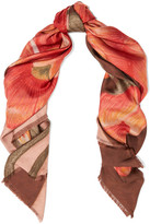 Balenciaga Floral-print Silk-satin Twill Scarf - Orange