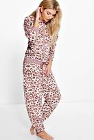 boohoo Annie Leopard Print Button Down Onesie multi
