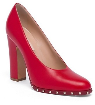 Valentino Soul Stud Leather Block Heel Pumps