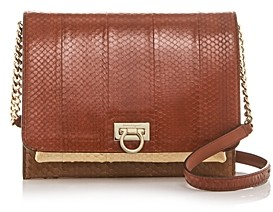 Salvatore Ferragamo G Square Color-Block Snakeskin Crossbody