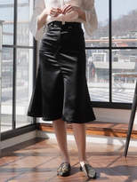 Wardrobe Satin Flare Skirt_black