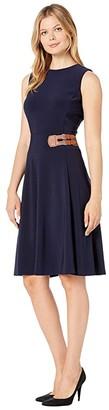 Lauren Ralph Lauren Bonded Matte Jersey Chellis Sleeveless Day Dress (Lighthouse Navy) Women's Clothing