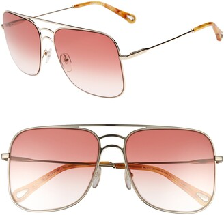 Chloé 58mm Square Aviator Sunglasses