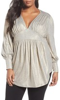 Melissa McCarthy Plus Size Women's Deep V-Neck Gathered Jersey Top