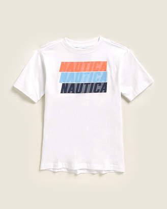 Nautica Boys 4-7) Kyle Stripe Logo Short Sleeve Tee