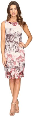 Adrianna Papell Women's Rose Print Sleeveless Sheath Dress