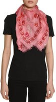 Alexander McQueen Voile Mixed-Skull Scarf, Pink/Red